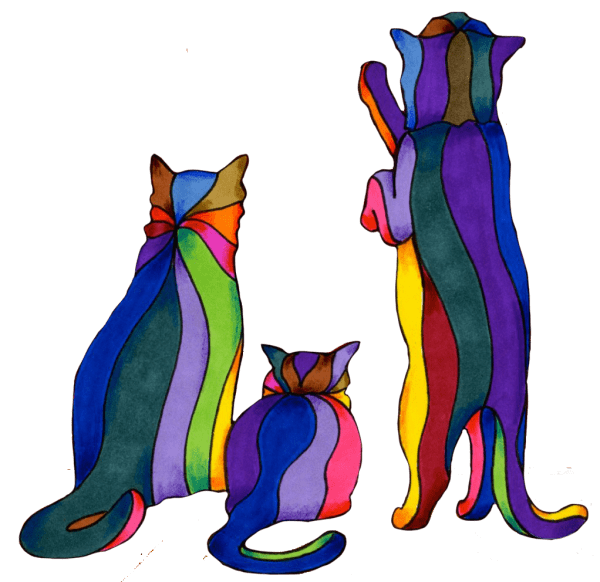 painting of three colorful curious cats with stripes