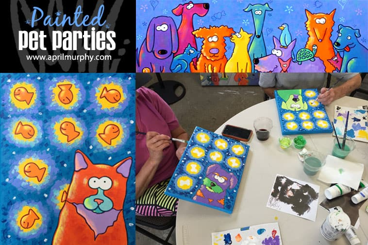 painted pet parties postcard
