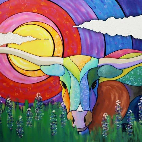happy cow among wild flowers